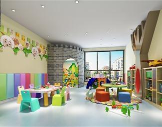 现代儿童幼儿园空间3D模型下载