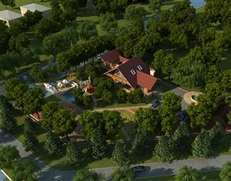 现代建筑鸟瞰图3D模型下载