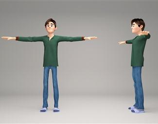 现代游戏角色人物3D模型下载