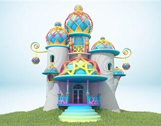 现代卡通小屋3D模型下载