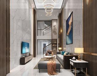 轻奢客厅装修效果图3D模型下载