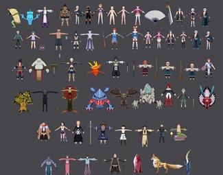 现代可爱游戏角色3D模型下载