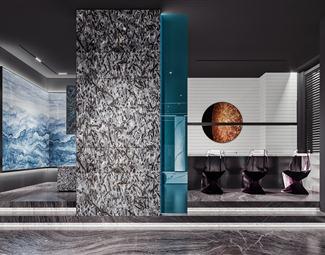 现代背景墙设计3D模型下载