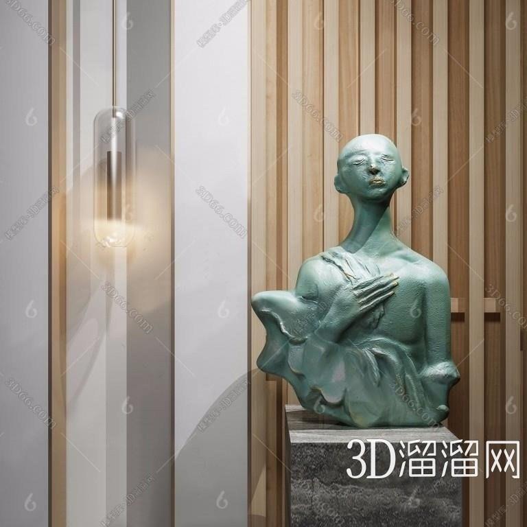 现代个性雕塑3D模型下载