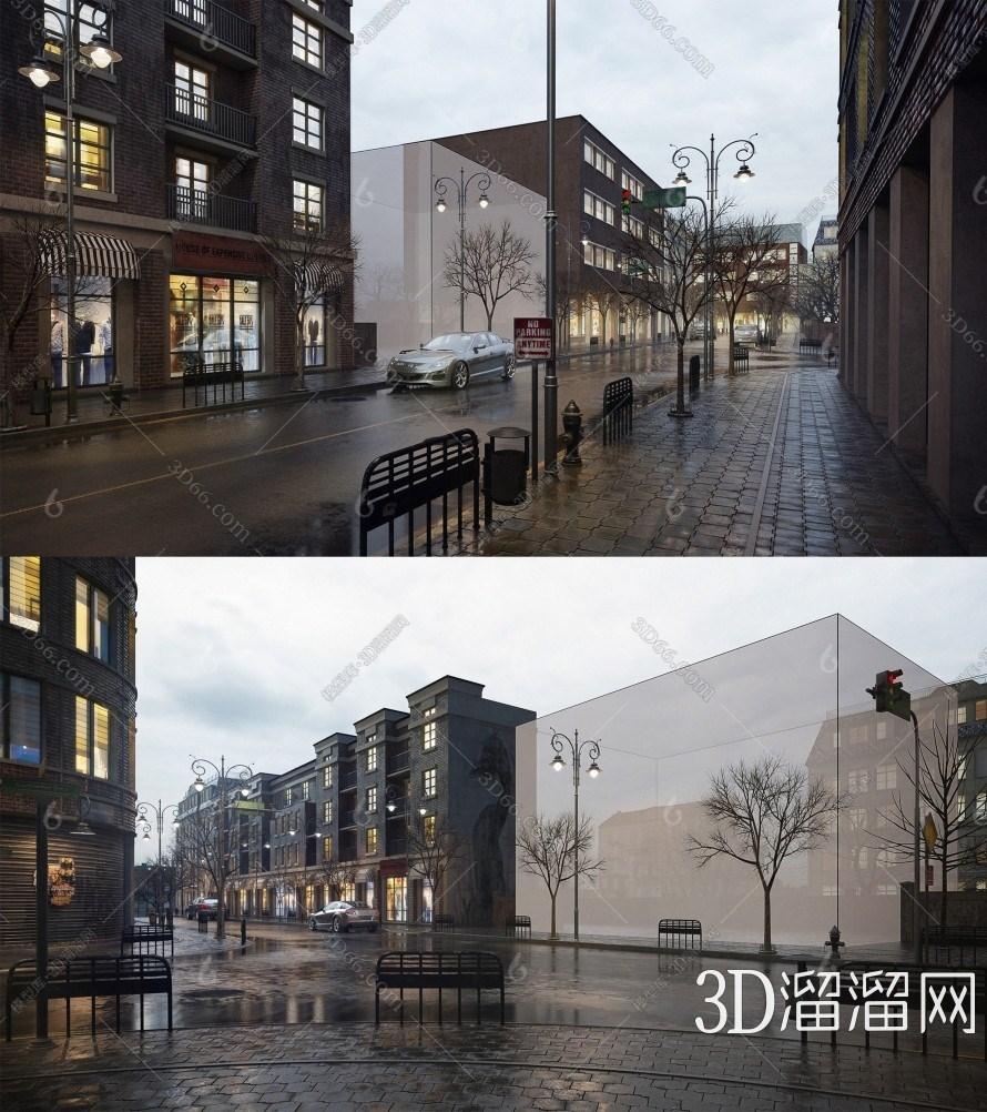 现代商业街3D模型