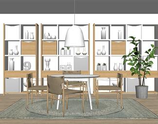 北欧餐桌椅组合SU模型