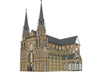 欧式教堂SU模型