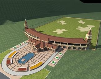 欧式高尔夫练习场3D模型下载