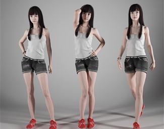 现代站着的女人3D模型下载