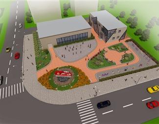 现代户外建筑鸟瞰图3D模型下载