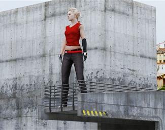 现代扎头发女人3D模型下载
