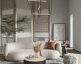 侘寂沙发茶几组合3D模型