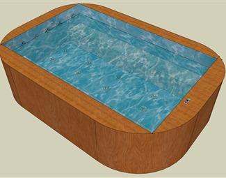 现代游泳池SU模型