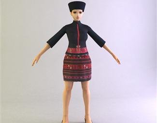 现代戴帽子的女人3D模型下载