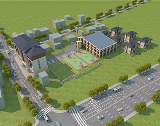现代住宅区鸟瞰图3D模型下载
