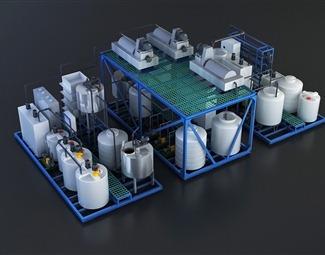 现代污水处理设备3D模型下载