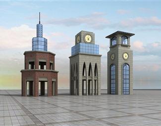 欧式建筑外观3D模型下载