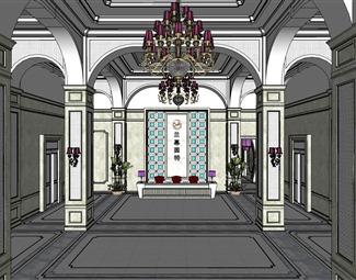 欧式大厅SU模型