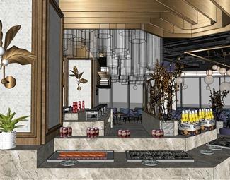 现代自助餐厅SU模型