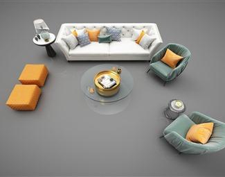 现代办公室沙发茶几组合3D模型下载